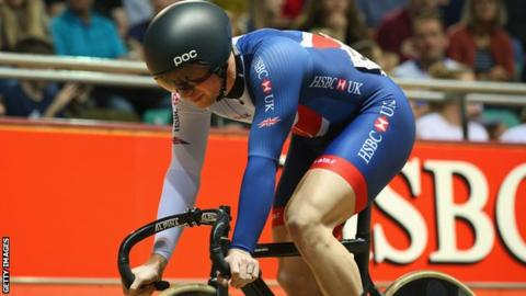Jason Kenny prepares to compete in the sprint final of the Revolution Series in Manchester