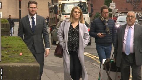 Jess Varnish arriving at the tribunal