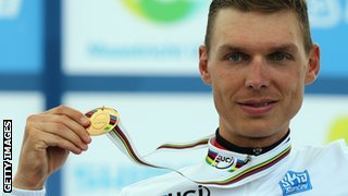 Tony Martin with his winners medal from the 2012 World Championships