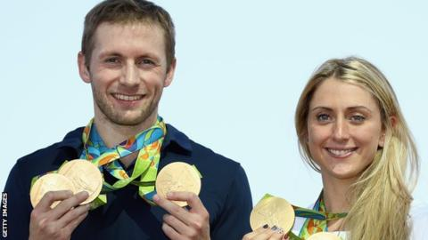Laura Trott, right, and fiance Jason Kenny won five gold medals between them at Rio 2016
