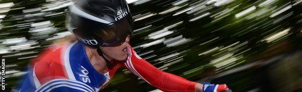 Britain's Emma Pooley competes during the women's Elite Time Trial at the UCI Road World Championships on September 18, 2012 in Valkenburg.
