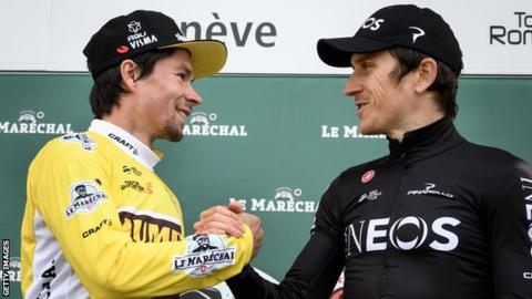 Tour de Romandie winner Primoz Roglic (left) with Briton Geraint Thomas of team Ineos