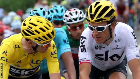 Geraint Thomas (right) with Chris Froome (left)