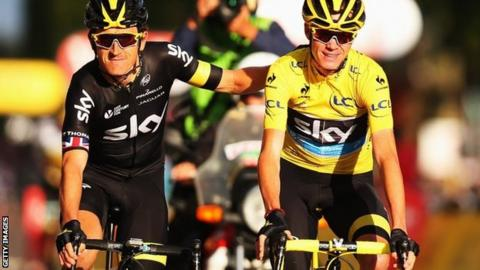 Geraint Thomas and Chris Froome celebrate Tour de France victory in 2016