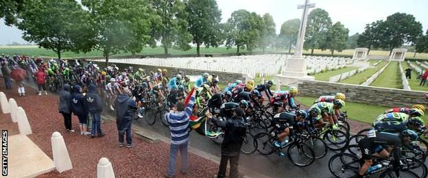 The race passes by a World War One cemetery