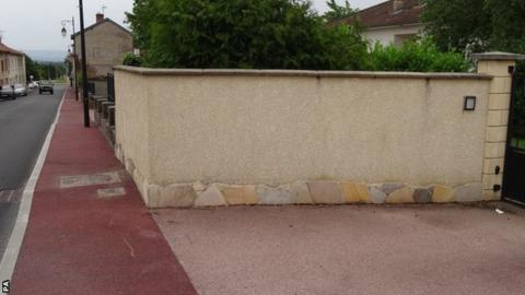 The wall which Chris Froome crashed into during a practice ride for the Criterium du Dauphine