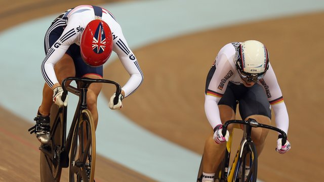 Becky James (L) challenging Kristina Vogel