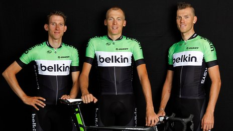 From l to r: Bauke Mollema, Robert Gesink, Lars Boom of Belkin Pro Cycling
