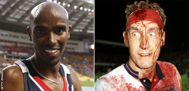 Mo Farah and Terry Butcher