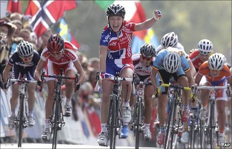 Team GB cyclist Lucy sprinted to victory at the Road World Championships