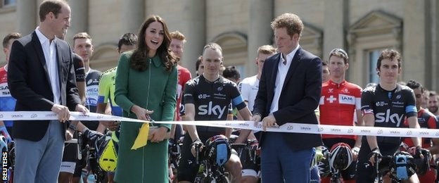 The Duke and Duchess of Cambridge and Prince Harry cut the ribbon to start the Tour de France