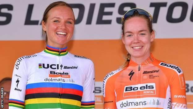 Boels-Dolmans team-mates Chantal van der Broek-Blaak (left) and Anna van der Breggen (right) smile on a podium