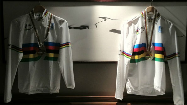 Rainbow jerseys hanging in hotel room