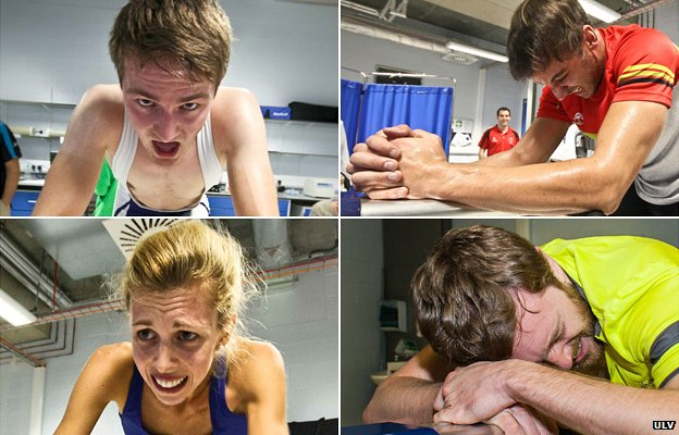 Candidates in various stages of pain during testing