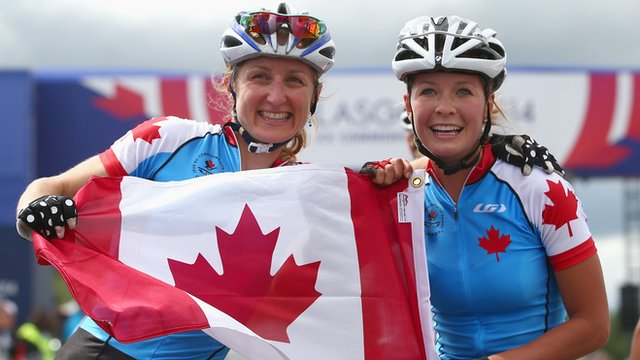 Canadian mountain bike riders Catharine Pendrel and Emily Batty