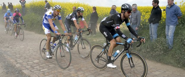 Bradley Wiggins competes in the Paris-Roubaix in 2014