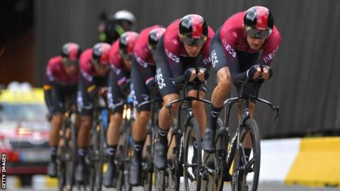 Team Ineos at stage two of the Tour de France 2019