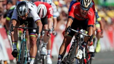 Peter Sagan wins stage two from Sonny Colbrelli