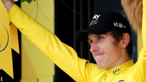 Geraint Thomas in yellow jersey