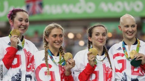 Katie Archibald, Laura Kenny, Elinor Barker and Joanna Rowsell-Shand