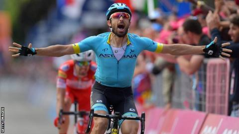 Dario Cataldo wins stage 15 of the 2019 Giro d'Italia