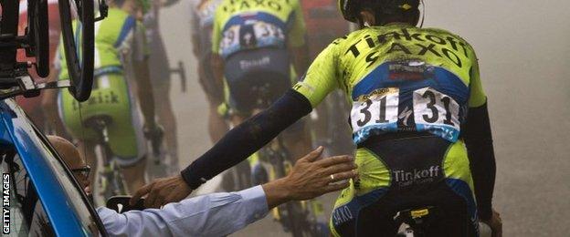 Alberto Contador and Bjarn Riis
