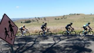 Chris Froome (right) leads team-mate Peter Kennaugh (left) through rural Victoria during stage three of the Herald Sun Tour.