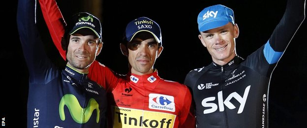 Alejandro Valverde, Alberto Contador and Chris Froome