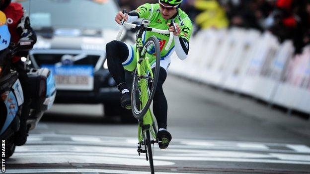 Peter Sagan winning Gent-Wevelgem in 2013
