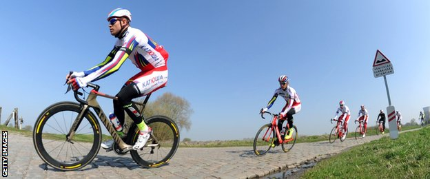 Katusha on a practice ride for Paris-Roubaix