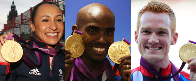 Jessica Ennis-Hill, Mo Farah and Greg Rutherford