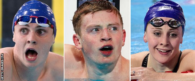 Ross Murdoch, Adam Peaty and Siobhan-Marie O'Connor