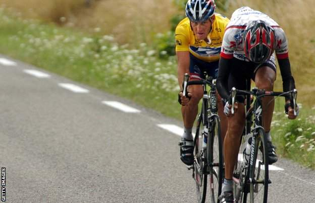 Lance Armstrong and Filippo Simeoni
