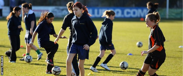A group of girls from Staines took part in a coaching session by Chelsea Ladies FC