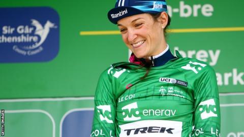 Britain's Lizzie Deignan smiles on the podium after winning the 2019 Women's Tour