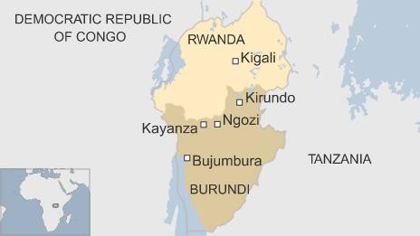 Map showing Burundi and Rwanda
