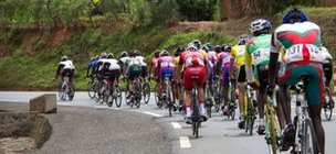 A peloton of cyclists