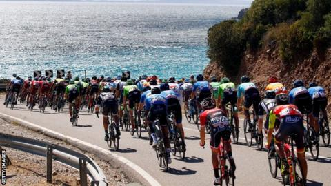 The peloton rides during the third stage of the 100th Giro d'Italia,