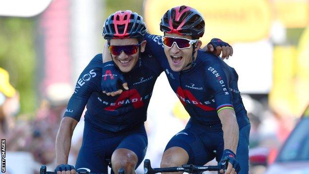 Michal Kwiatkowski (right) and Richard Carapaz (left) embrace as Ineos take a one-two on stage 18 of the 2020 Tour de France