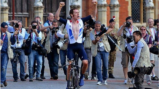 Great Britain's gold winner Bradley Wiggins