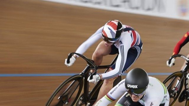 Becky James fails to defend her Keirin title finishing third in the final at the World track Cycling championships in Colombia.