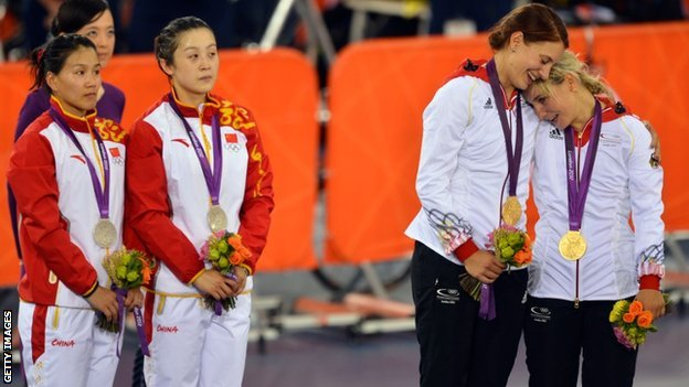 Miriam Welte and Kristina Vogel on London 2012 podium