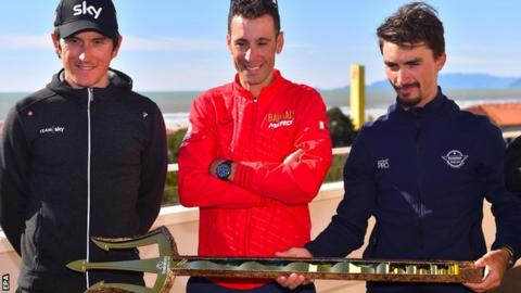 Geraint Thomas with Vincenzo Nibali and Julian Alaphilippe at the Tirenno-Adriatico