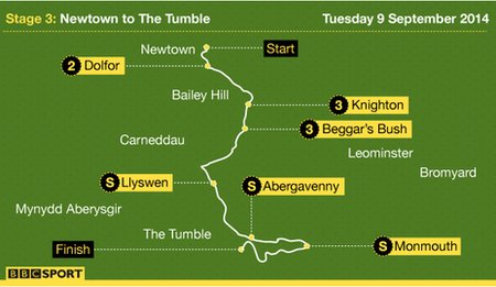 Tour of Britain stage three map