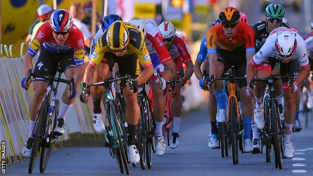 Dutch sprinters Fabio Jakobsen (far left) and Dylan Groenewegen (left) collide just before the line in a crash on stage one of the Tour of Poland