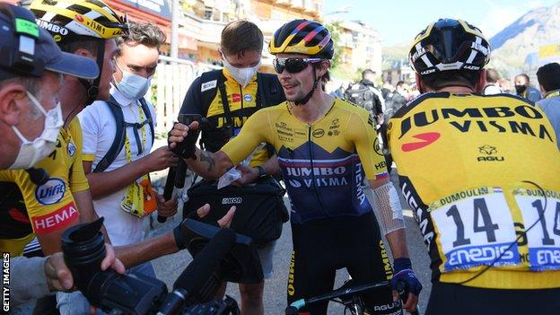 Primoz Roglic (centre) celebrates with his Jumbo-Visma team-mates after winning stage four of the 2020 Tour de France