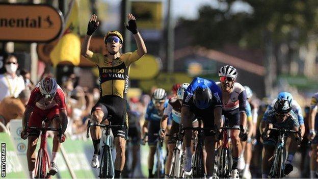 Wout van Aert wins stage seven of the Tour de France