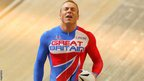 Chris Hoy celebrates winning the men's team sprint at the 2002 Track Cycling World Championships in Copenhagen