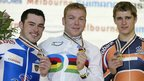 Chris Hoy (centre) wins gold in Melbourne