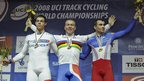 Chris Hoy (centre) celebrates his sprint gold medal with France's Mickael Bourgain (right) and Kevin Sireau